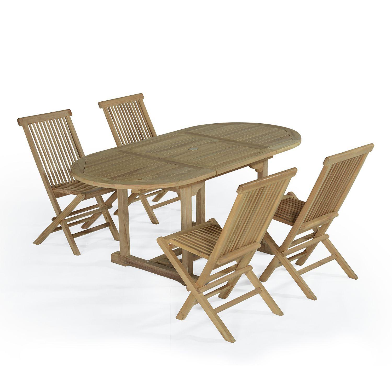 Salon de jardin en teck Ecograde© Hawai table extensible