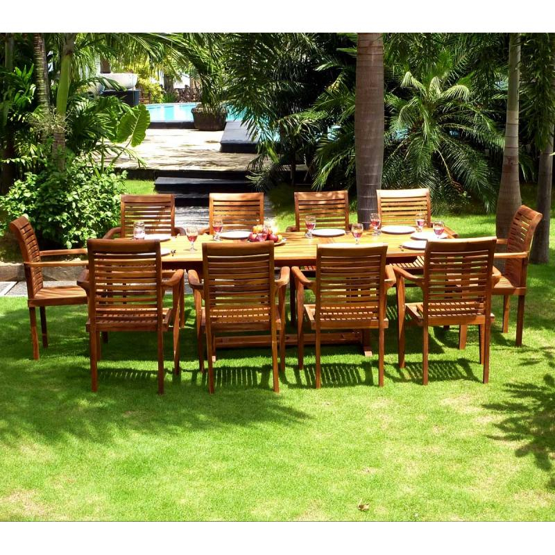 Salon de jardin grande table et fauteuils en teck huilé