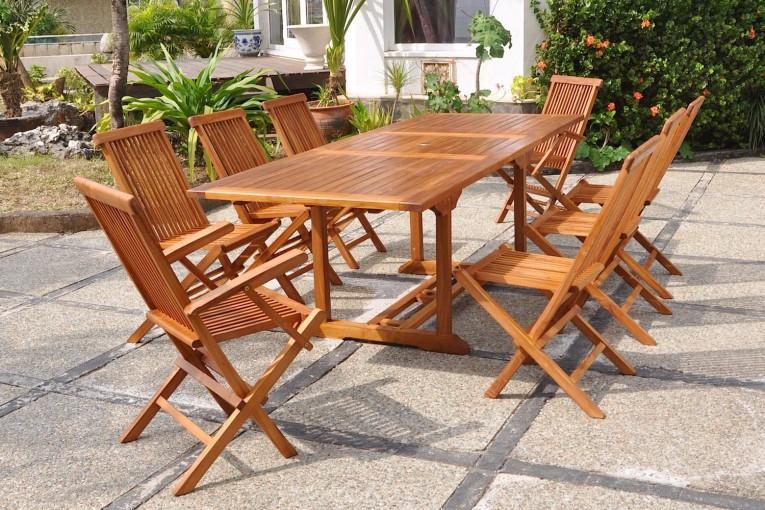 Table de jardin teck huilé 8 personnes 6 chaises 2