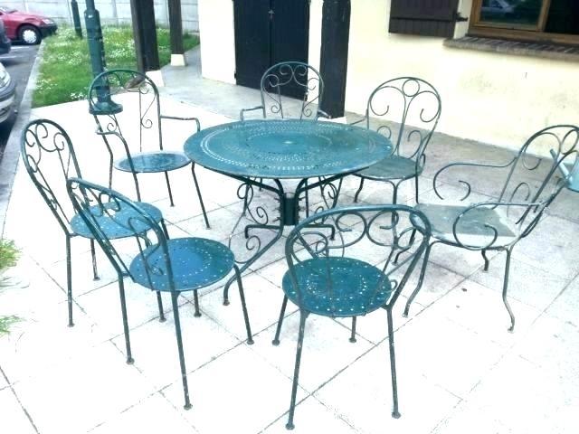 Table Verre Fer Forge Chaises Exterieur Ronde Salon