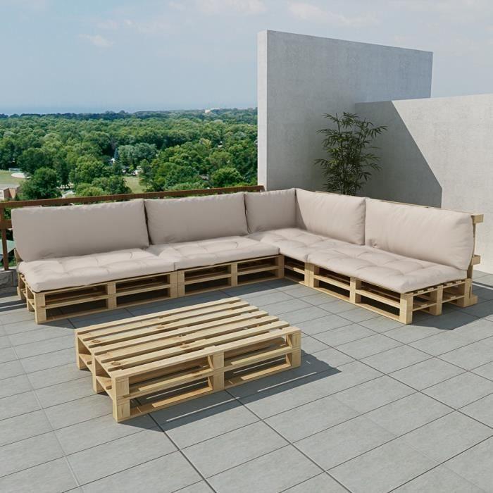 Salon de jardin 15 pcs en palette avec coussins blanc