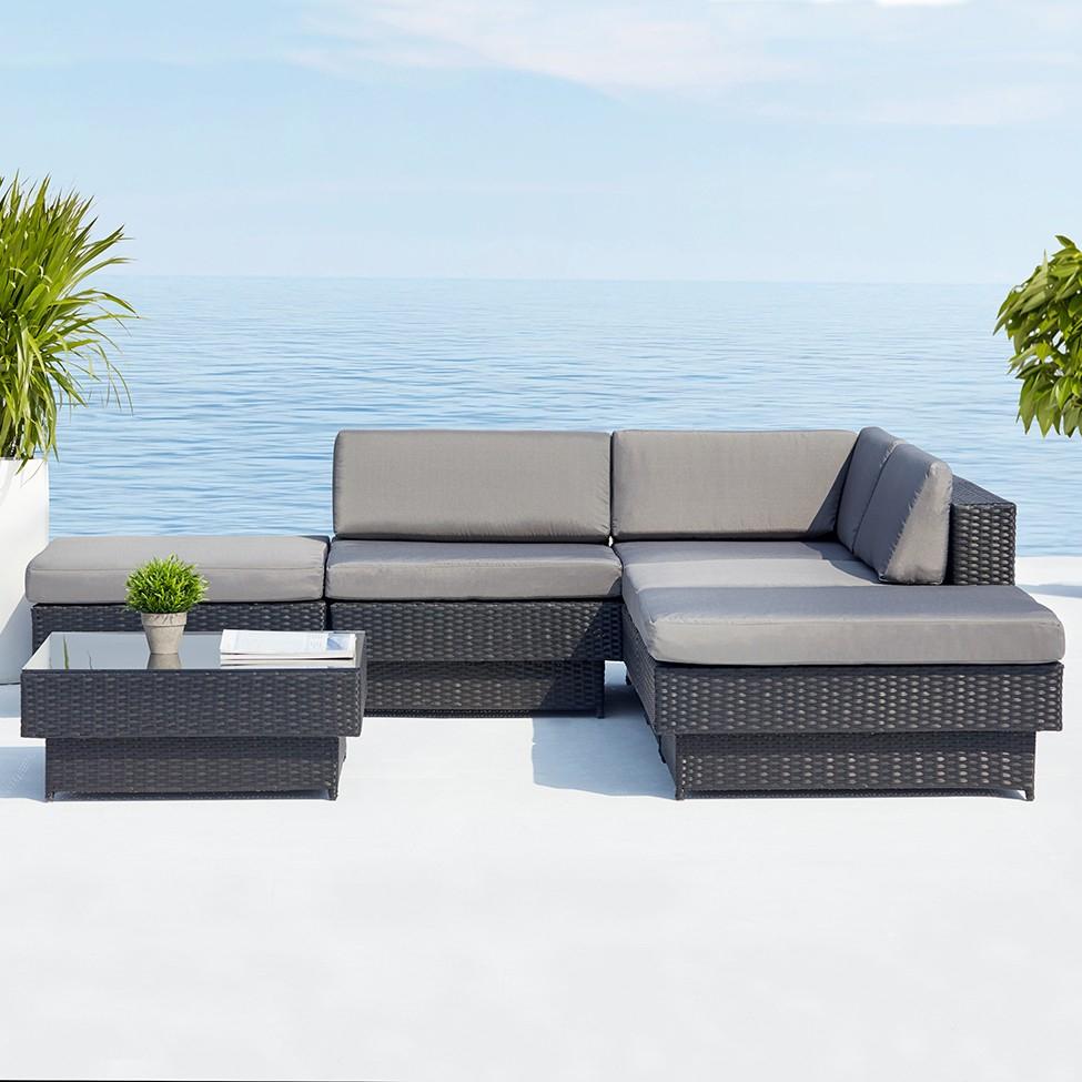 Salon de jardin d angle en résine tressée 5 places Amorgos