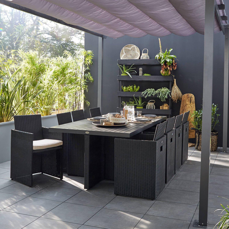 Salon de jardin Encastrable résine tressée noir 8