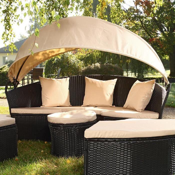 Canapé de jardin rond modulable Achat Vente salon de