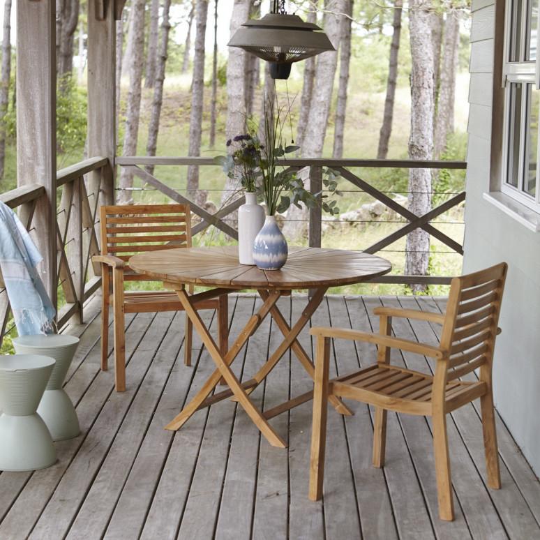 Table et 2 fauteuils de jardin en teck Mobilier outdoor