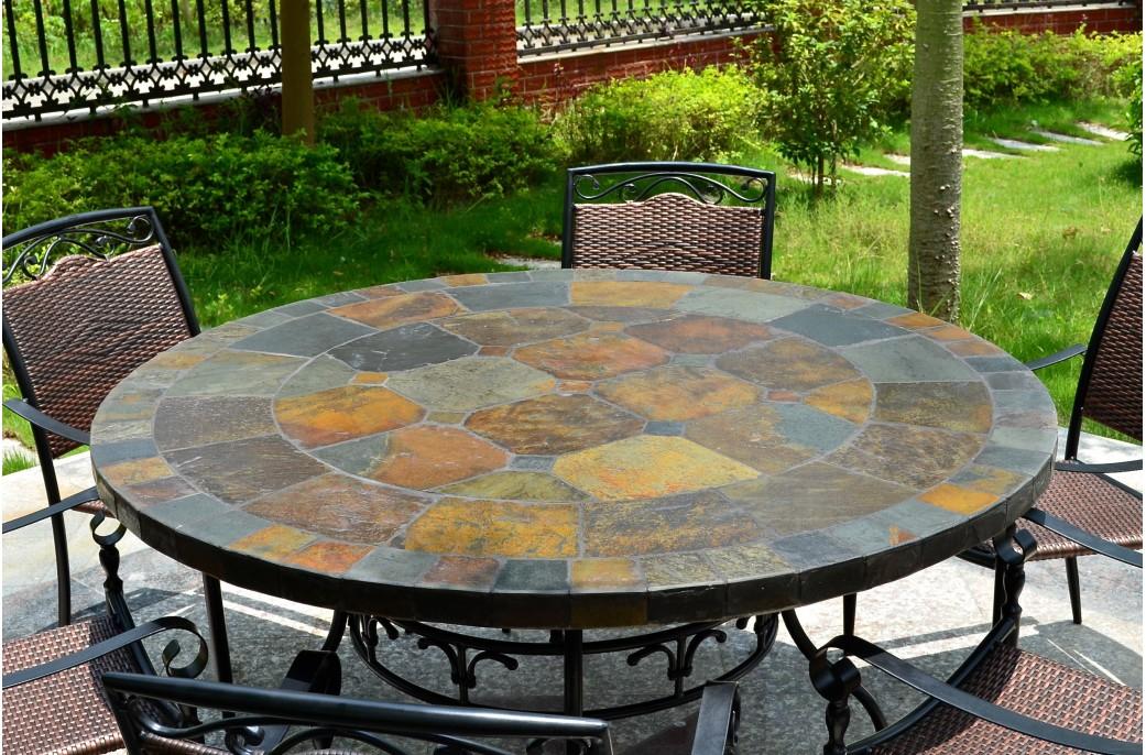 125 160 Table de jardin ronde en mosaïque d ardoise OCEANE