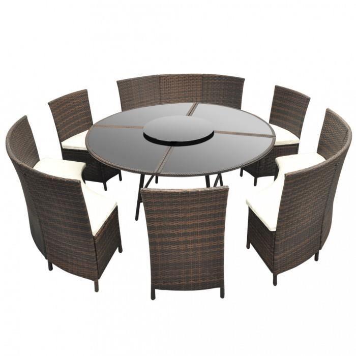 Magnifique Salon de jardin marron en polyrotin table ronde