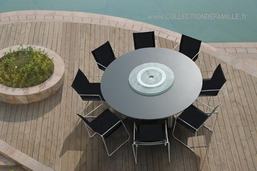 Salon de jardin aluminium table ronde Mailleraye jardin