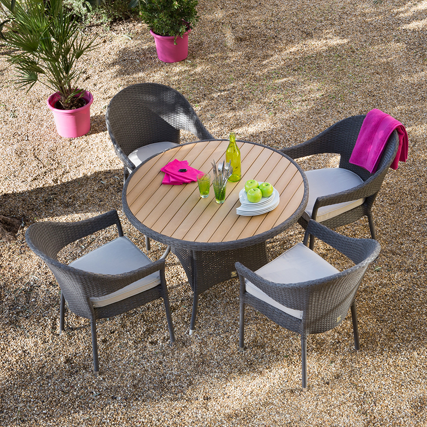 Salon de jardin avec table ronde Mailleraye jardin