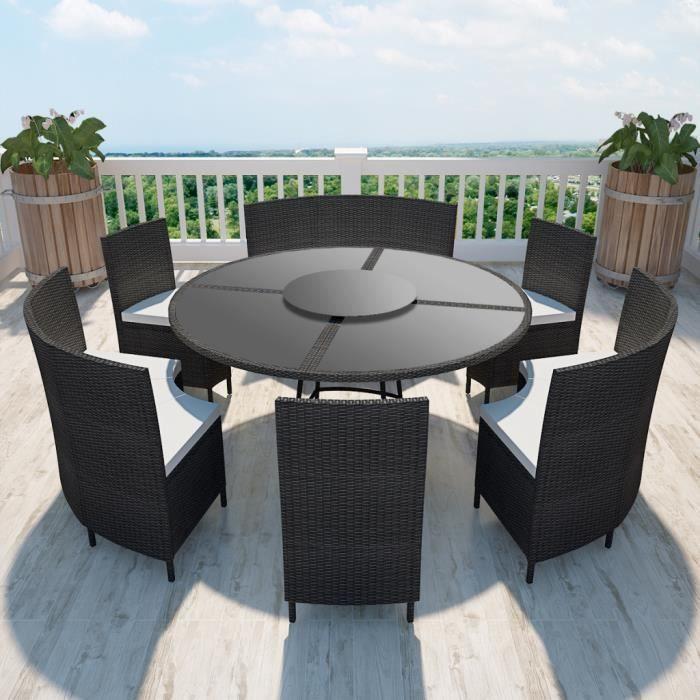 Salon de jardin noir en polyrotin table ronde et chaises