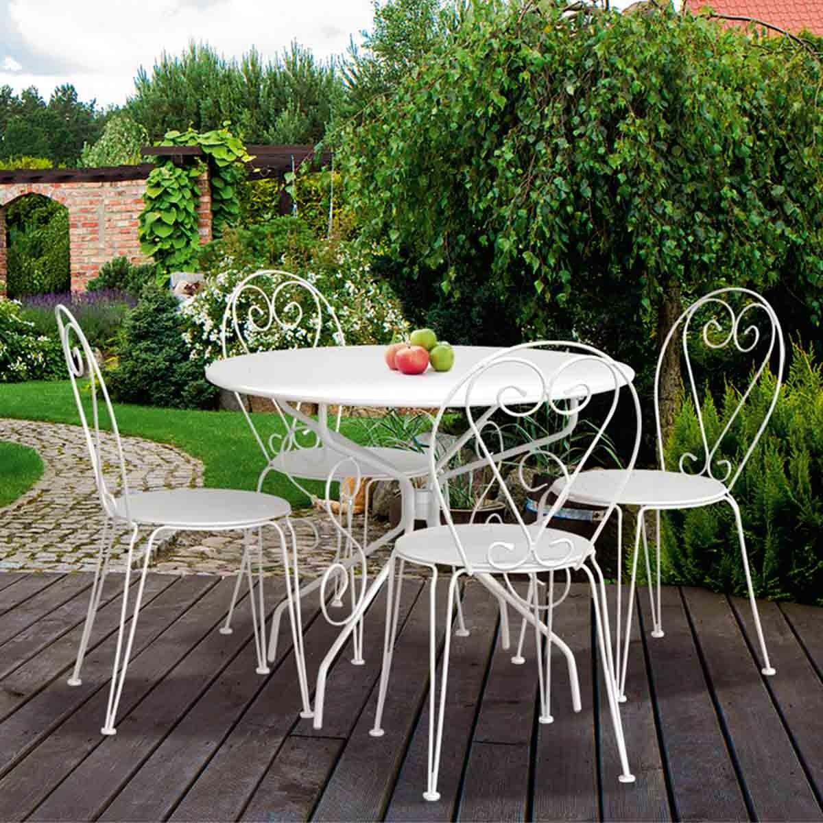 Salon de jardin table ronde blanche Mailleraye jardin