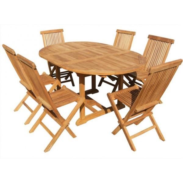 SALON DE JARDIN TABLE RONDE EN TECK 6 CHAISES TECK en