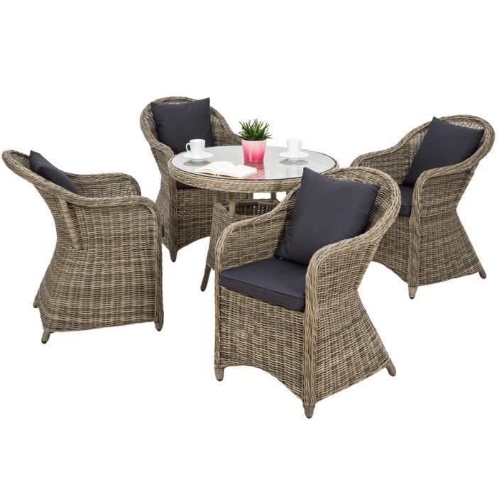 Salon de jardin ZURICH 4 Chaises Fauteuils 1 Table