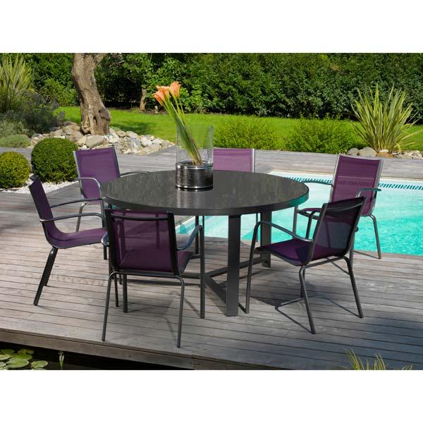 table de jardin ronde 6 places