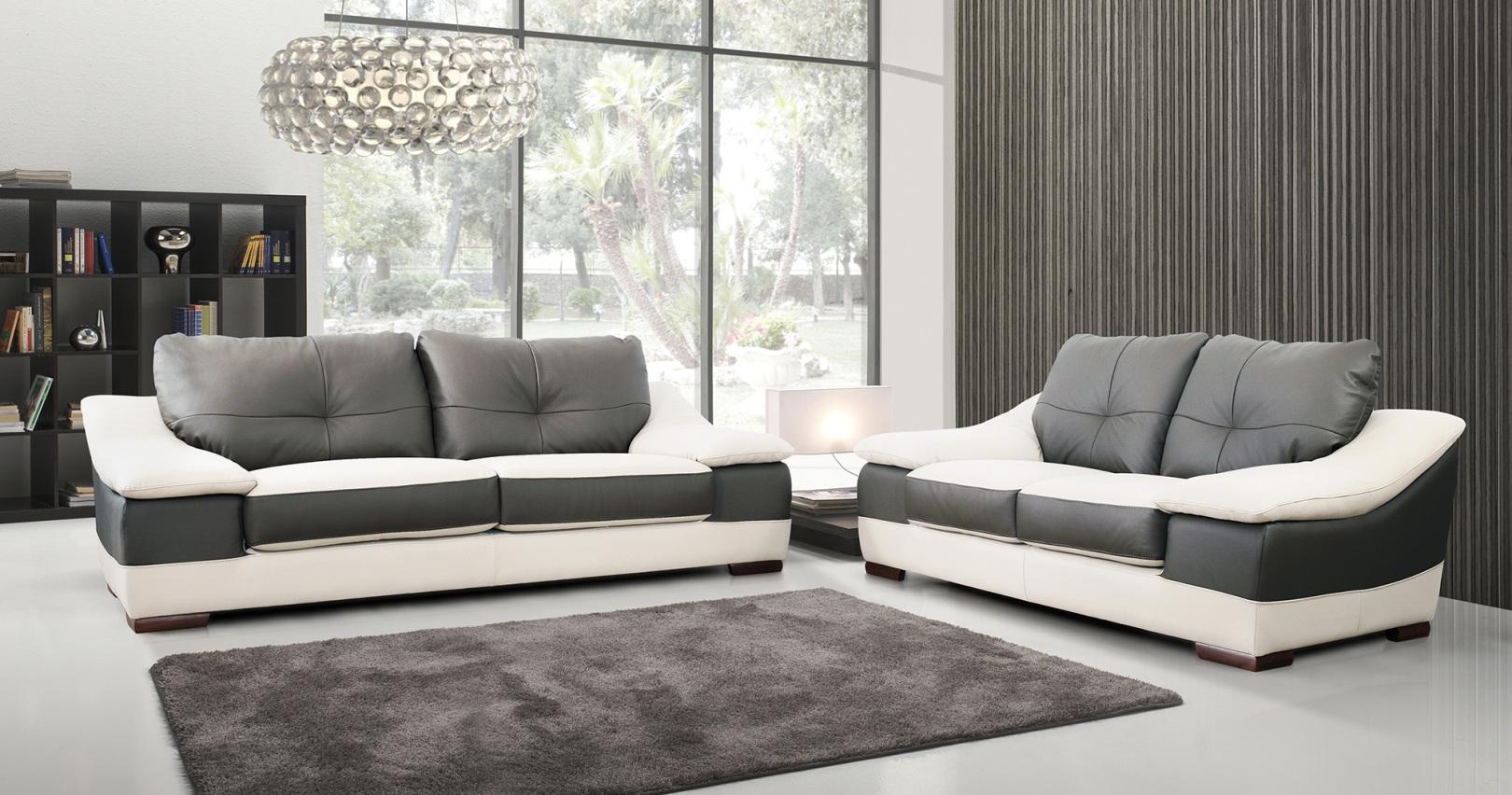 Canape cuir bicolore