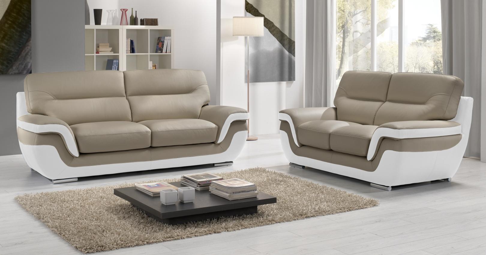 canapé RODRIGUE Salon 3 2 Cuir Design