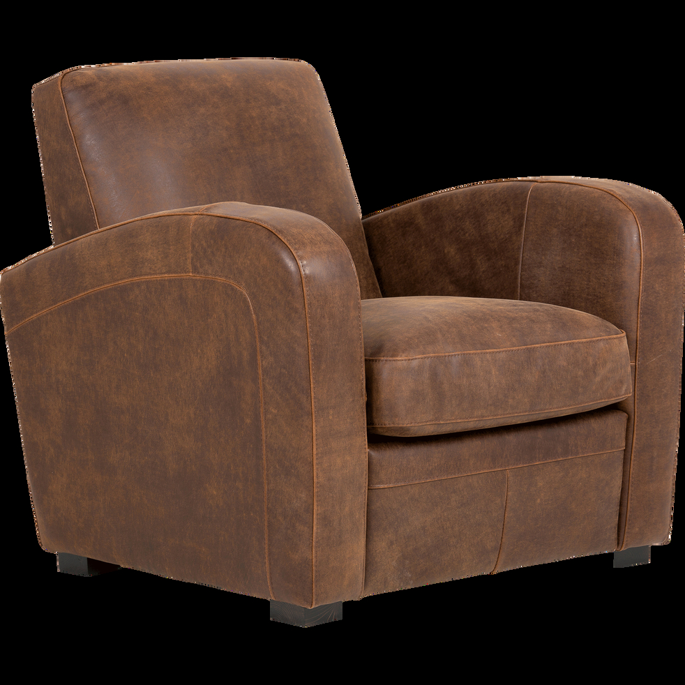 Fauteuil de salon en croûte de cuir Cuba fauteuils et
