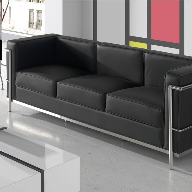 Canapé 3 places Cuir Noir Inox Design Moderne CORBS
