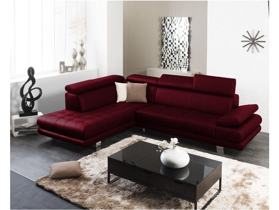 Canapé d angle cuir supérieur italien EFFLEUREMENT Noir
