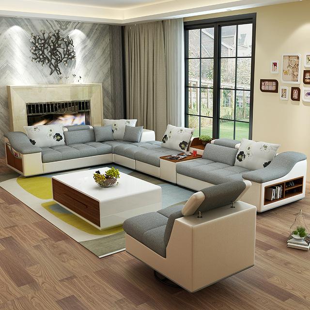 Meubles de salon moderne en forme de U en cuir tissu coin