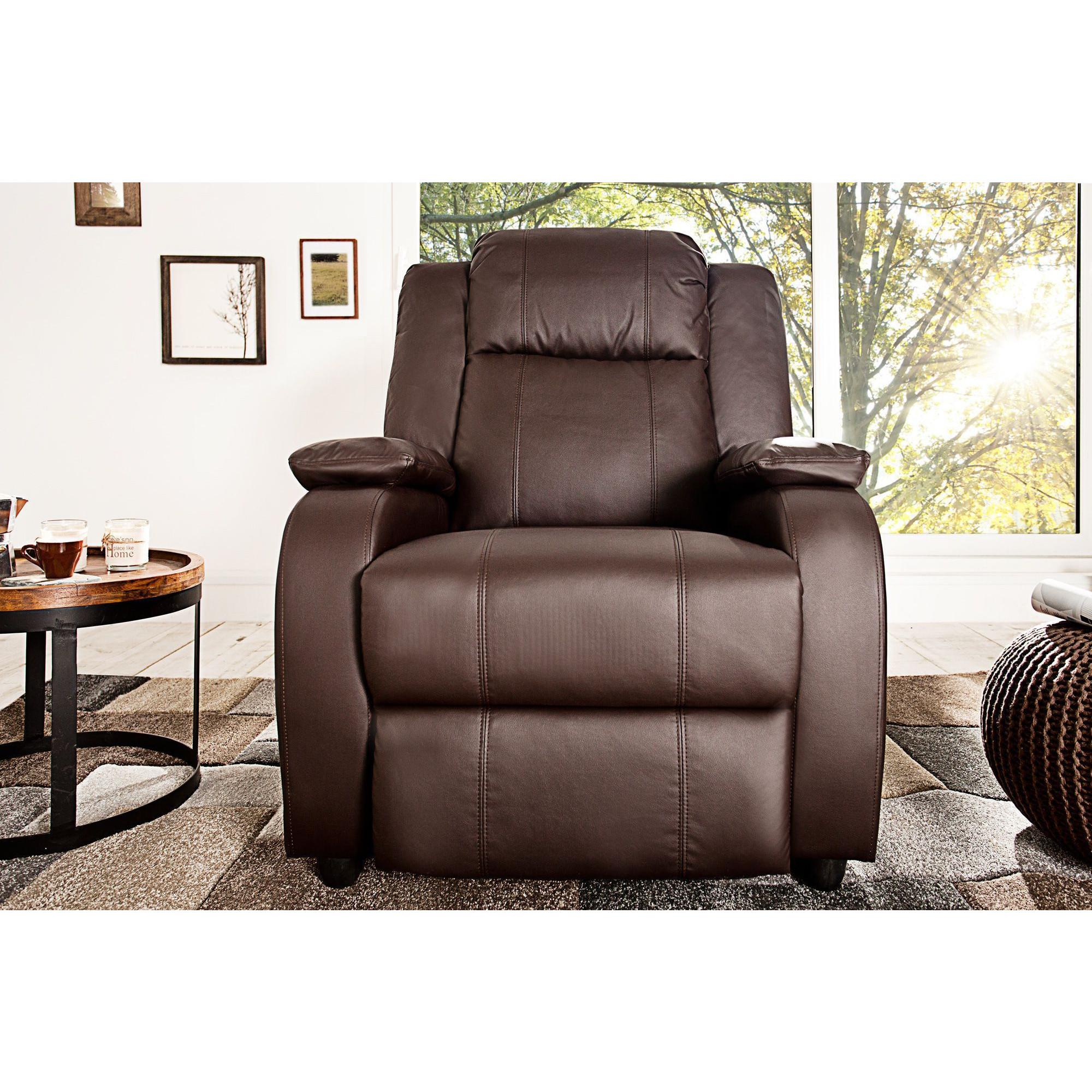 Salon Fauteuil relax design en simili cuir coloris brun