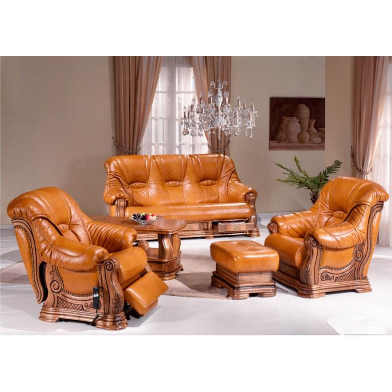 Salon rustique cuvette Darwin canapé cuir chêne