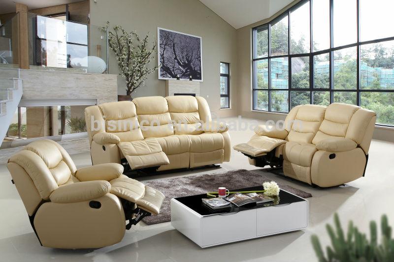 Véritable Cuir Beige Canapé Inclinable Set Moderne Salon