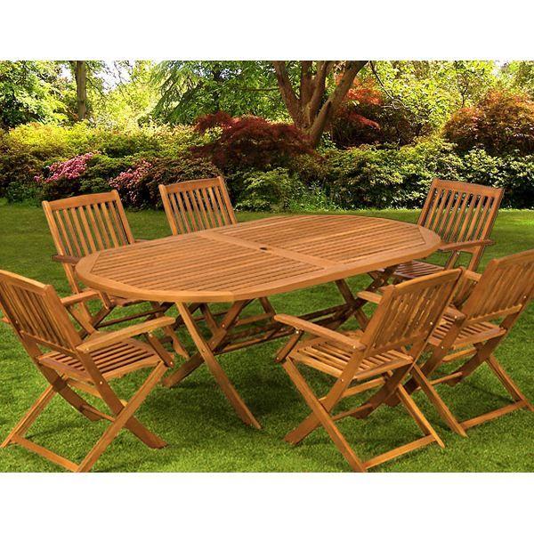 Salon de jardin 1 table 6 chaises bois BOSTON Achat