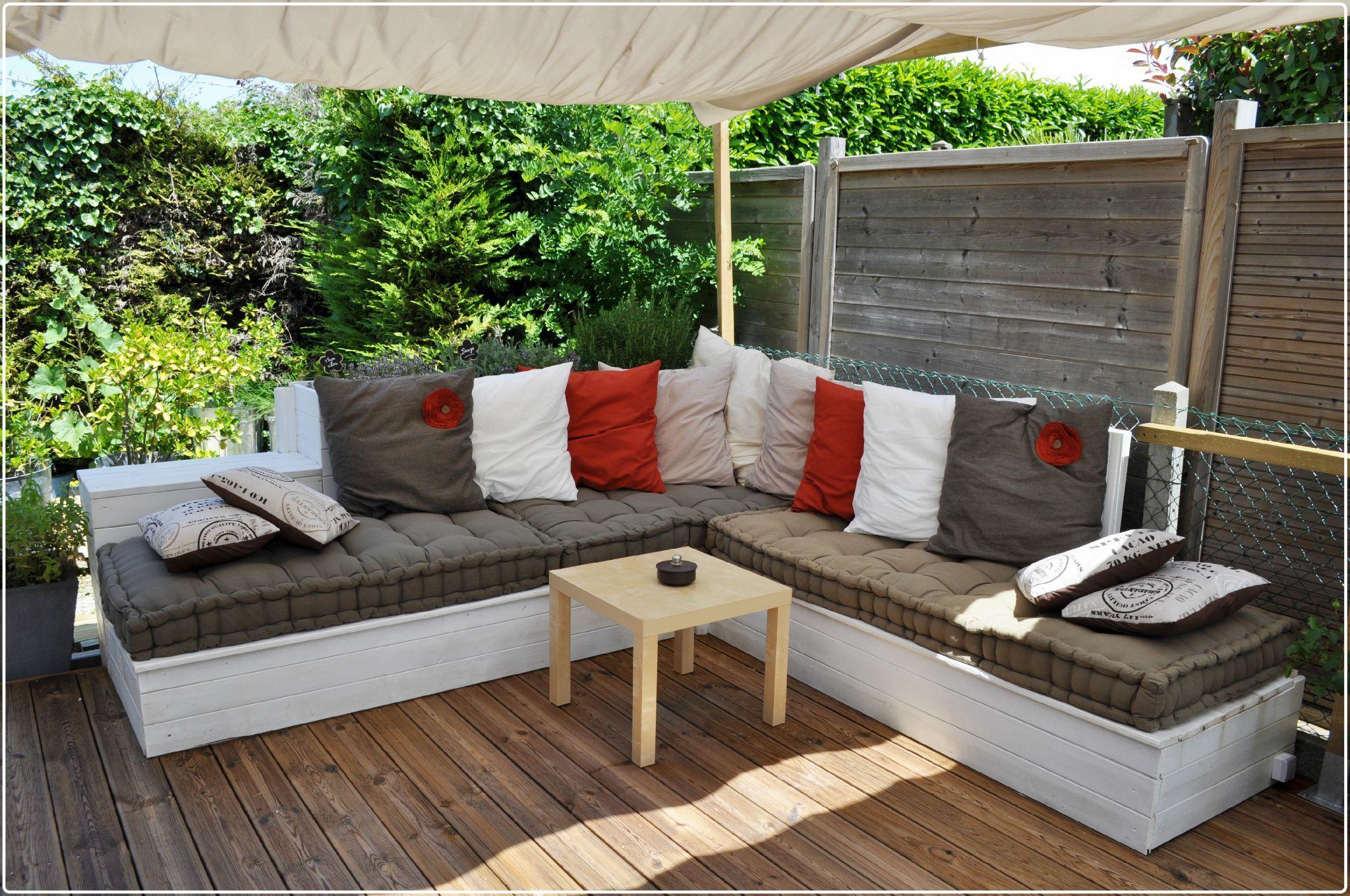 Salon de jardin canapé d angle extérieur en bois