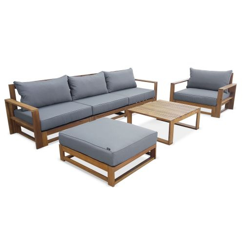 Salon de jardin en bois 5 places Mendoza Coussins gris