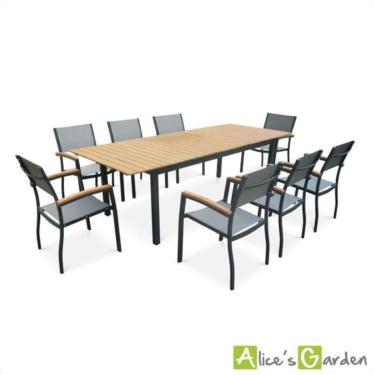 Salon de jardin en bois et aluminium Sevilla grande table