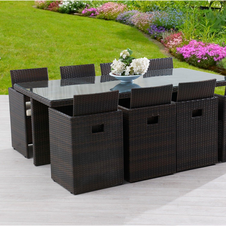 Salon de jardin Encastrable résine tressée marron 1 table