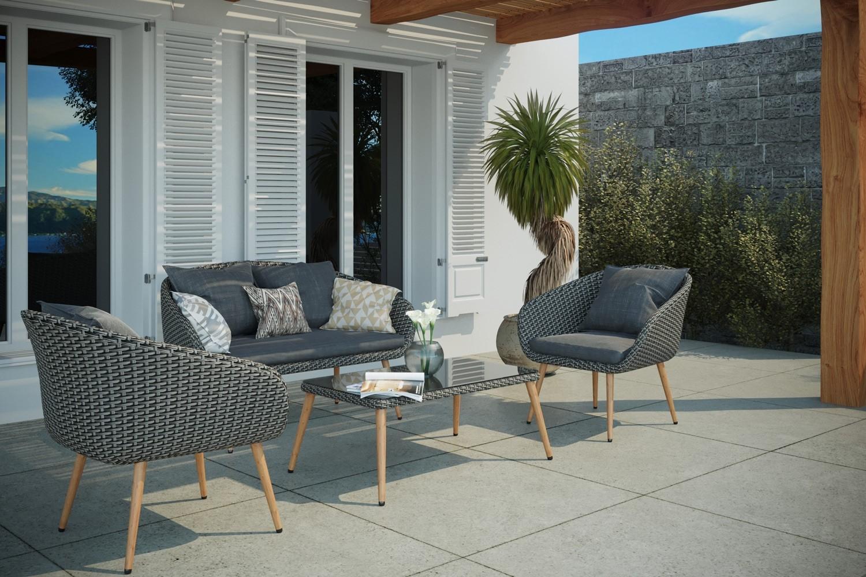 Salon de jardin rotin 4 places en résine tressée Cosenza