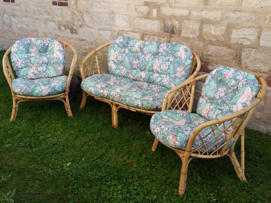 salon de jardin rotin bambou osier fauteuil banquette