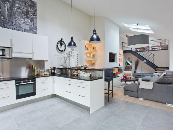 Salon Moderne Gris Restructuration Pièces à Vivre Ouest Home Cuisine