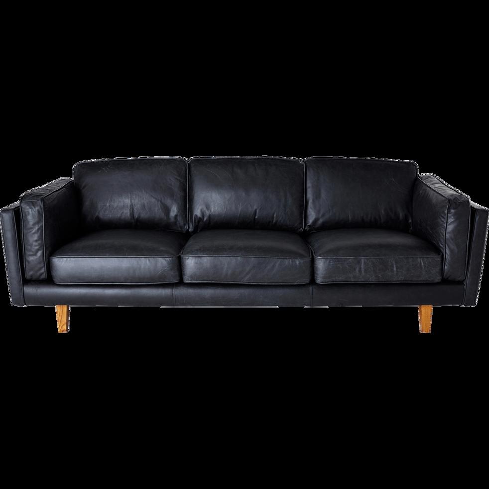 Canapé 3 places fixe en cuir de vachette noir BROOKLYN