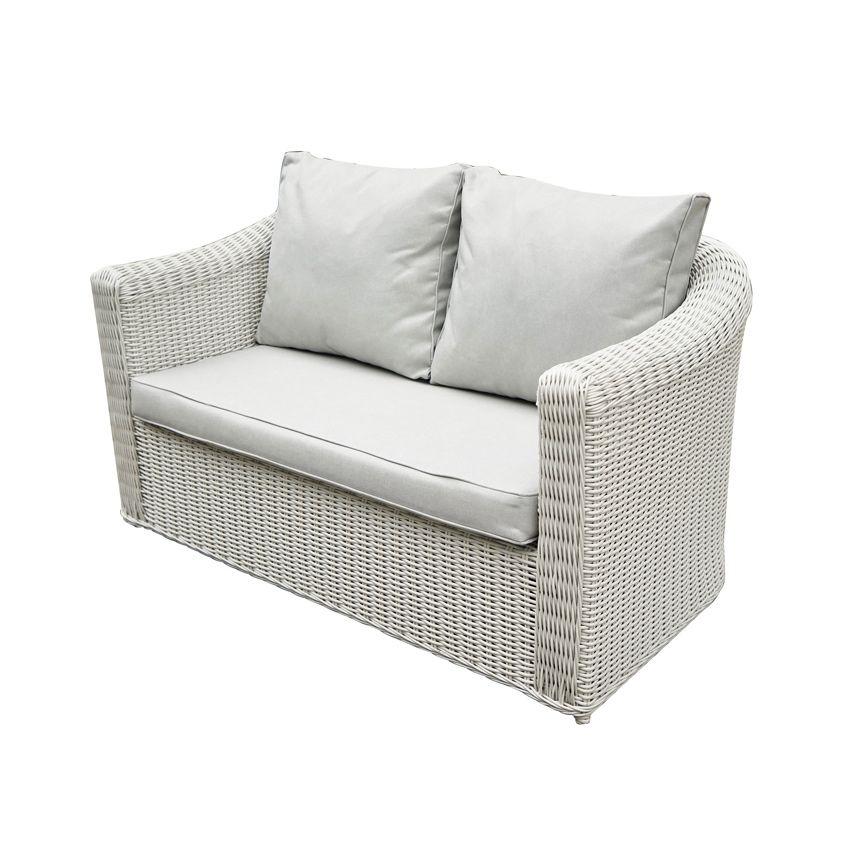 Canapé de jardin 2 places Capri Blanc Perle Salon à