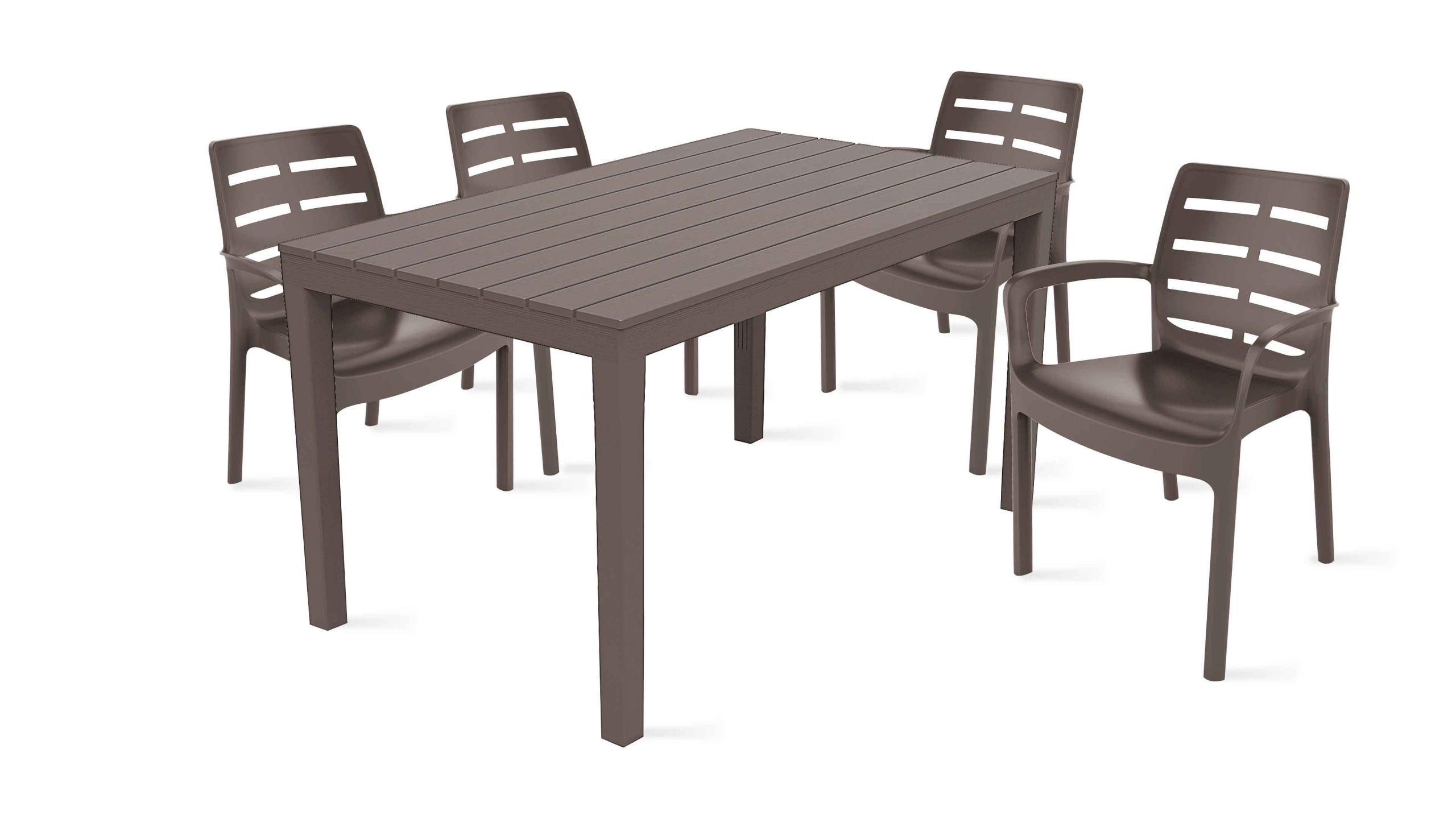 Solde Table De Jardin Salon De Jardin 4 Places En Plastique