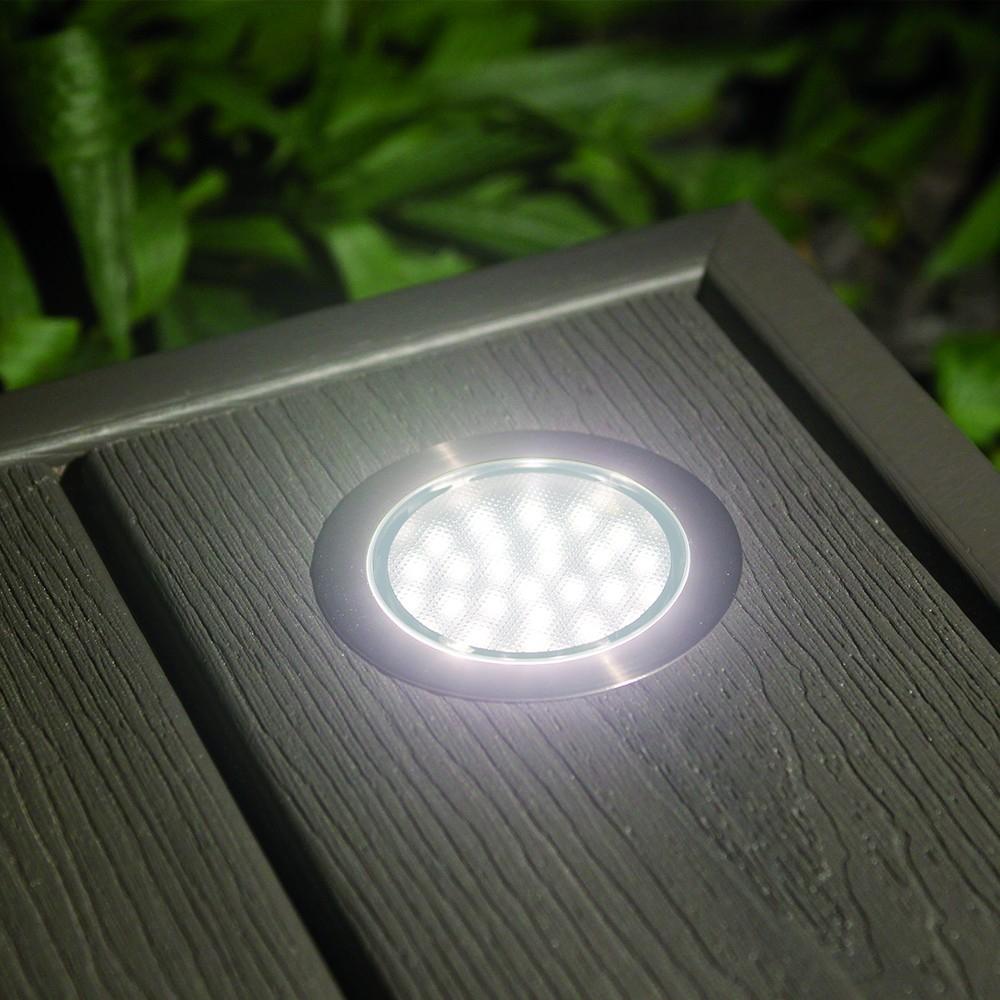spot LED ALGA blanc encastrable pour terrasse bois HELIA