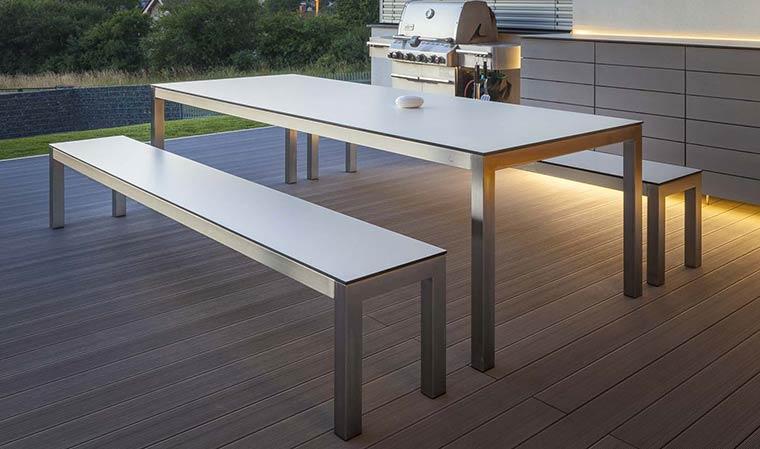 Banc blanc design pour table à manger de jardin Leuven