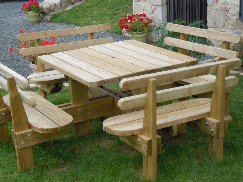 Stunning Plan Table De Jardin En Bois Avec Banc Integre