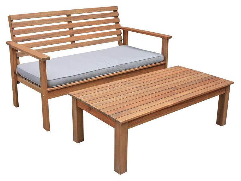 Table basse banc de jardin en acacia massif MARA Vente