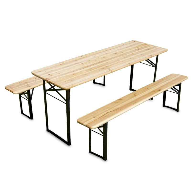 Table brasserie et bancs pliants en bois