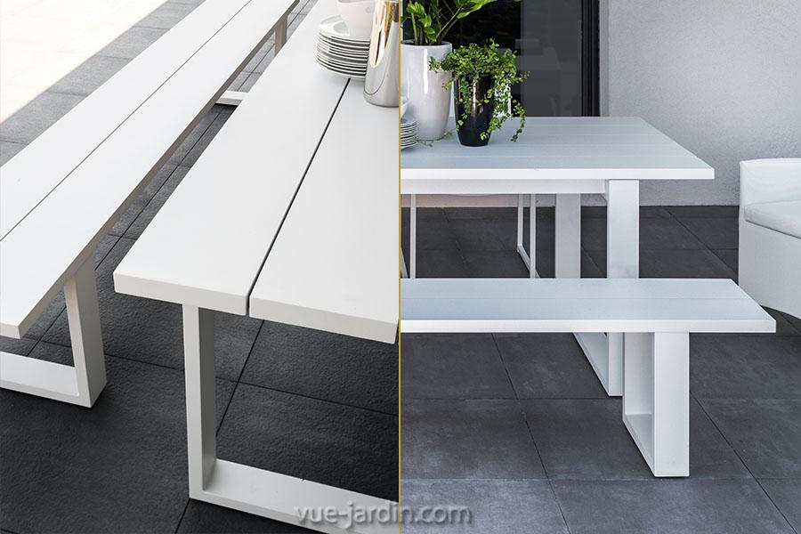 Table et Banc de Jardin design en Aluminium blanc