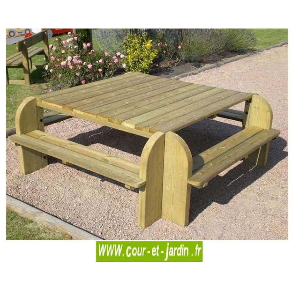 Table picnic bois table pique nique avec banc bancs