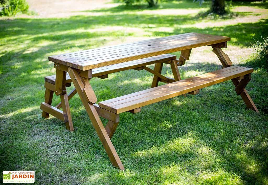 Table Pique Nique Transformable en Banc Bois 195 cm