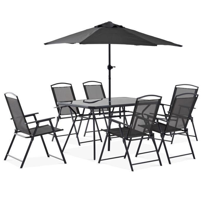 Ensemble table et chaise de jardin et parasol Achat