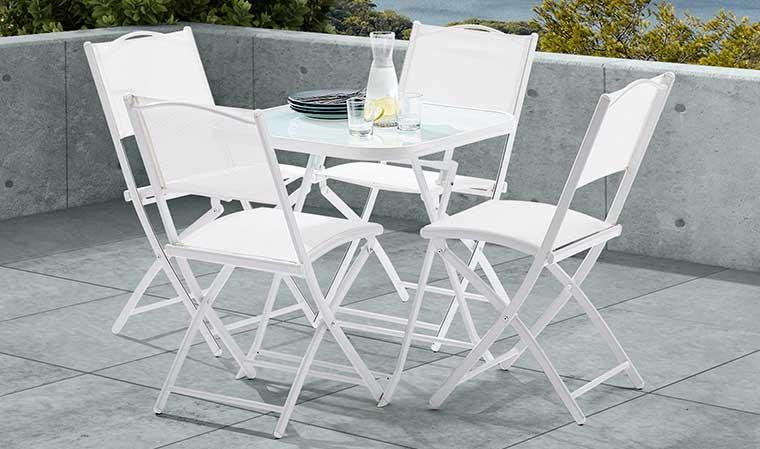 Ensemble de jardin blanc pas cher 4 places 1 table et 4