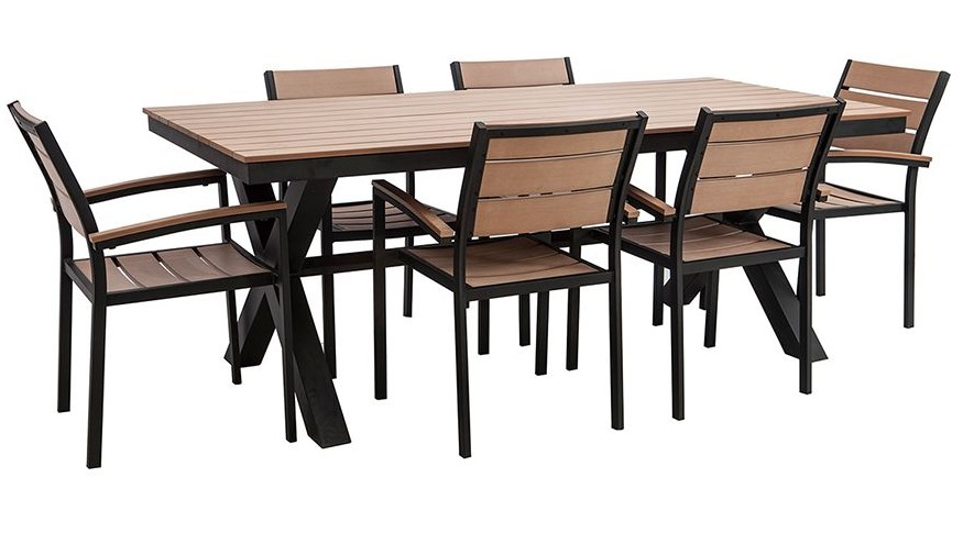 Salon de jardin VIAGGIO avec table et 6 chaises noir et