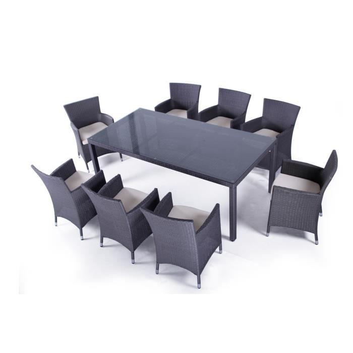 Table de jardin en resine tressee avec chaise gris Achat